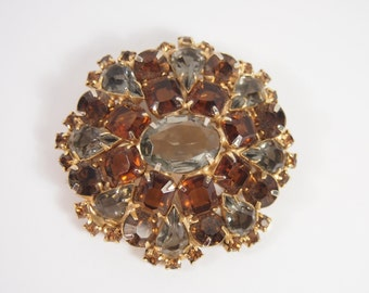 Amber and Blue Rhinestone Gold Tone Brooch Vintage 50s Jewelry