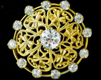 Edwardian Shamrock Filigree &Rhinestone Brooch, Bridal Jewellery,Mother of Bride