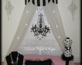 Canopy Crib Bed Twin Full Crown SWAG Cornice Teester White Black Bows Paris French Suzette So Zoey Boutique Sale Custom designs Free ribbons