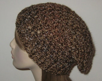 Homespun Crochet Winter Hat/Slouchy Beanie in the color Barley