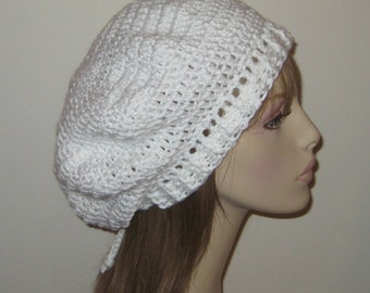 Bright White Beret Dread Tam