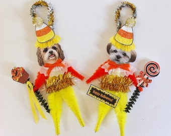 Shihpoo HALLOWEEN candy corn vintage style CHENILLE ORNAMENTS set of 2
