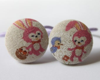 EASTER Pink Bunnies PONYTAIL HOLDERS
