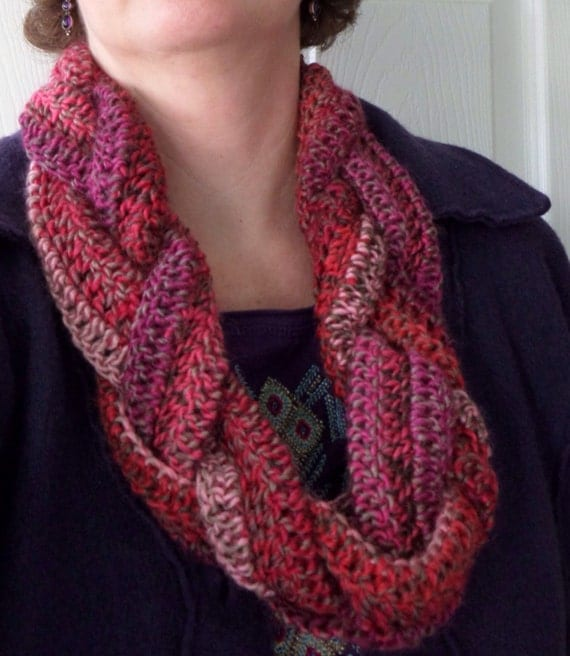Scarf braided infinity pinks crochet by SunnySpirals on Etsy