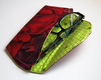 Red Floral with bees inside Reading Glasses Case Ready to Ship