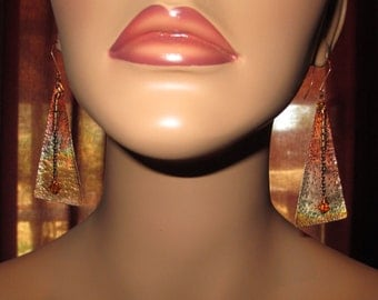 Chic Hand Forged, Hammered, Long Colorful Copper And Crystal Earrings Boho, South West