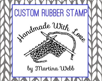 Custom Knitting Rubber Stamp Packaging stamp, Handknit by, Handmade by, etc