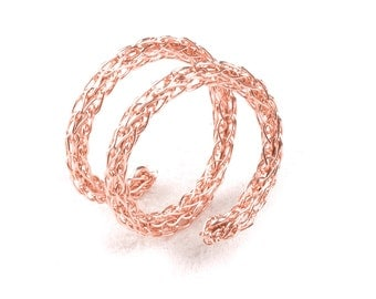 Rose Gold Spiral Ring , Stacking Ring , Layered Ring , Wire Crochet Ring , Adjustable Ring ,   Every Day Jewelry
