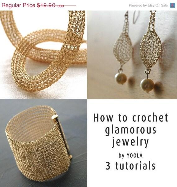 Labor Day SALE How to wire crochet glamorous jewelry tutorials crochet patterns tube necklace pearl drop earrings wide cuff bracelet