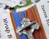Sideways Cross Bracelet, STERLING Silver Cross Jewelry, Sideways Cross Silk Wrap Bracelet, Silver Cross Bracelet, Sideways Cross Jewelry