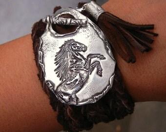 Horse Jewelry, Horse Bracelet, Horse Leather Wrap Bracelet, Pony Wrap Bracelet, Pony Jewelry, Pony Bracelet, Kentucky Derby Jewelry KY Derby