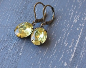 Pale Yellow, Jonquil, Vintage Glass Jewel Earrings, Hollywood Glam