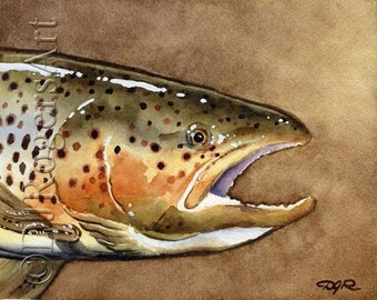 BROWN TROUT Fly Fishing Art Print Signed by Watercolor Artist DJ Rogers