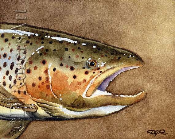 Brown trout fly fishing art print signed by by k9artgallery for Brown trout fly fishing