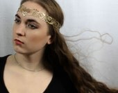 Nouveau Deco leather head wreath in gold - Queen Esther