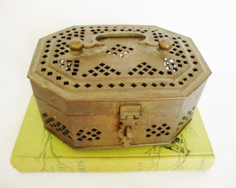 vintage brass box perforated cricket cage