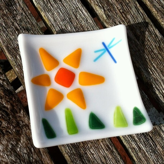 Sunny Yellow Flower and Dragonfly - Little Fused Glass Dish - Spoon Rest - Trinket Dish