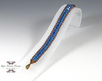 Sparkling Crystal Bracelet, Beadweaving, Capri Blue, Gold