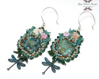 Verdigris Garden Bead Embroidery Earrings, Patina, Silver