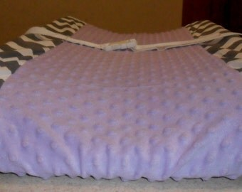 Gray Chevron and Lavender Lavendar Minky Dot Changing Pad Cover CHOICE OF MINKY
