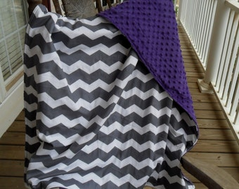 Large Gray Chevron and Purple Minky Dot Blanket CHOICE OF MINKY