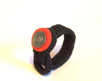 Crochet felted bracelet with button boho Valentine gift for her textile jewelry bangle cuff black red taupe gray felt wool handmade