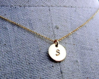 Gold Initial Necklace, Gold Letter Charm Necklace, Round,  14K GF - JENNA GOLD by E. Ria Designs