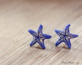 Starfish Post Earrings / Studs - Deep Blue & Gold