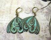 verdigris earrings, patina brass, dangle, bold earrings, scroll, large, artsy, boho earrings, bohemian, pierced, antique brass, dayslonggone