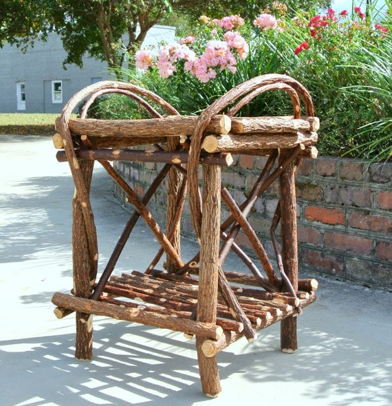 Hand Crafted Twig Willow Side Table