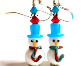 Snowman Earrings, Drop Dangle Earrings, Christmas Earrings, Holiday Earrings, Winter Earrings, Blue Red Fun Adorable Snowmen Earrings