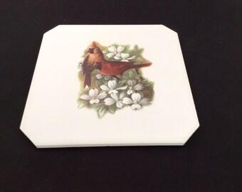 Ceramic Coaster  with Cardinal Dogwood Appox,