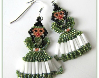 Princess Earrings,  Iridescent Lime Green,  Seed Beaded Earrings, Dangle Earrings Hand beaded,.925 Sterling Silver French Earwires Item#1027