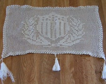 "Antique Filet Crochet Ecru Doily with Shield - Laurel Leafs - Tassels 11"" x 16"""