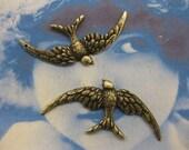 Brass Ox Plated Bird in Flight Stamping Pendant 2220BOX  x2