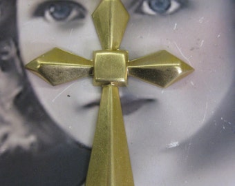 Large Brass Faceted Cross Raw Brass 2150RAW x1