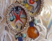 Lilygrace Vintage Circus Handpainted Cameo Earrings with Vintage Rhinestones and Honey Chalcedony, Lapis Lazuli and Turquoise