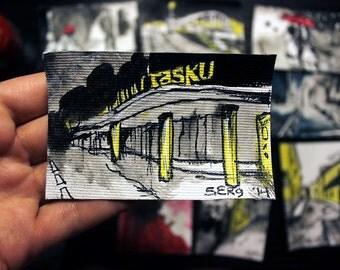 Mini ink painting on canvas 3,5x2,5in art card - Tasku center in Tartu