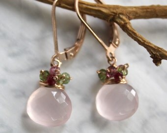 Rose Quartz Earrings with Rubies and Tourmaline in Rose Gold