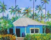 Waimea Cottage 8x10 print from Kauai Hawaii Tropical Wall Art Plantation House Vacation blue green teal palm tree tropical