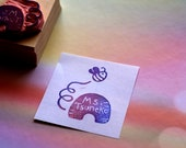 Teacher's stamp name//Bee and Bee hive hand carved stamp