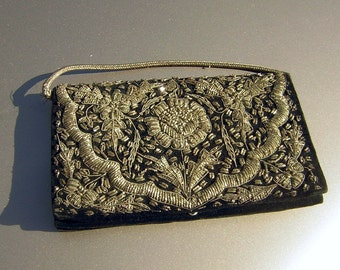 Vintage Silver Bullion Purse Clutch Evening Bag Decadent Black Velvet Encrusted with Embroidery Old India