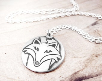 Sly fox necklace, silver fox jewelry