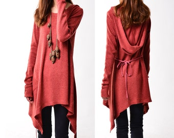 First line of the poem - knits tunic dress / tunic hoodie / grainy texture asymmetrical tunic dress / deconstructed boho tunic dress(Q5101)