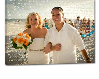 Gay Wedding Marriage Gift Union LGBT Vows or Lyrics Art Personalized Art Typography and Photo on Canvas 12x16 Geezees