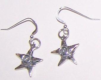 Sterling Silver SPIRAL STAR  Earrings -