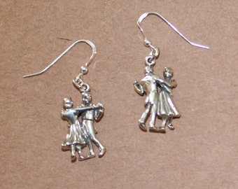 Earrings - Sterling Silver 3D DANCING COUPLE-- Hobby, Arts, Dance