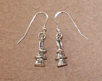 Earrings - Sterling Silver 3D RABBIT IN HAT- Magic, Magician