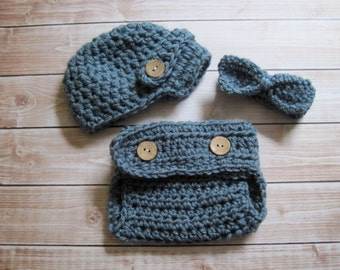 Baby Boy Hat, Baby Boy Bow Tie, Baby Hat and Bow Tie Set, Baby Newsboy Hat, Crochet Baby Hat, Baby Diaper Cover Set, Photo Prop, Blue