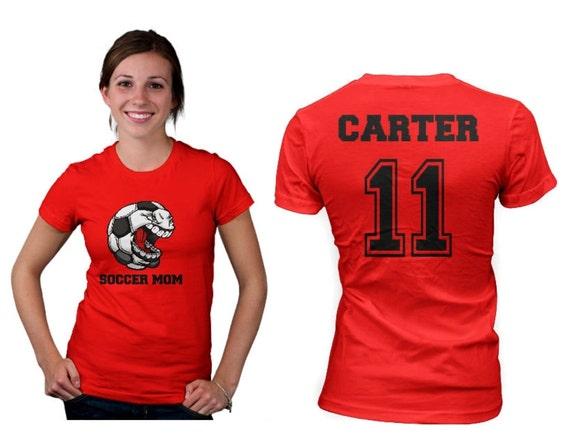 Soccer mom womens t shirt front and back design for Soccer t shirt design ideas